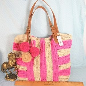 NEW! Sonoma Pink/Tan Woven Straw Lined Tote Bag